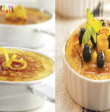 Crema catalana con mango y arándanos