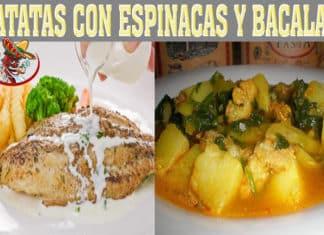Patatas con espinacas y bacalao
