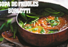 Sopa fresca de frijoles borlotti