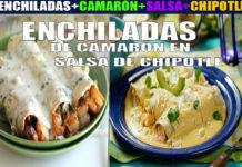 Enchiladas de camarón en salsas de chipotle