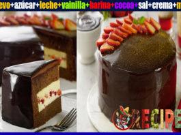 Receta de pastel de chocolate relleno con crema pastelera