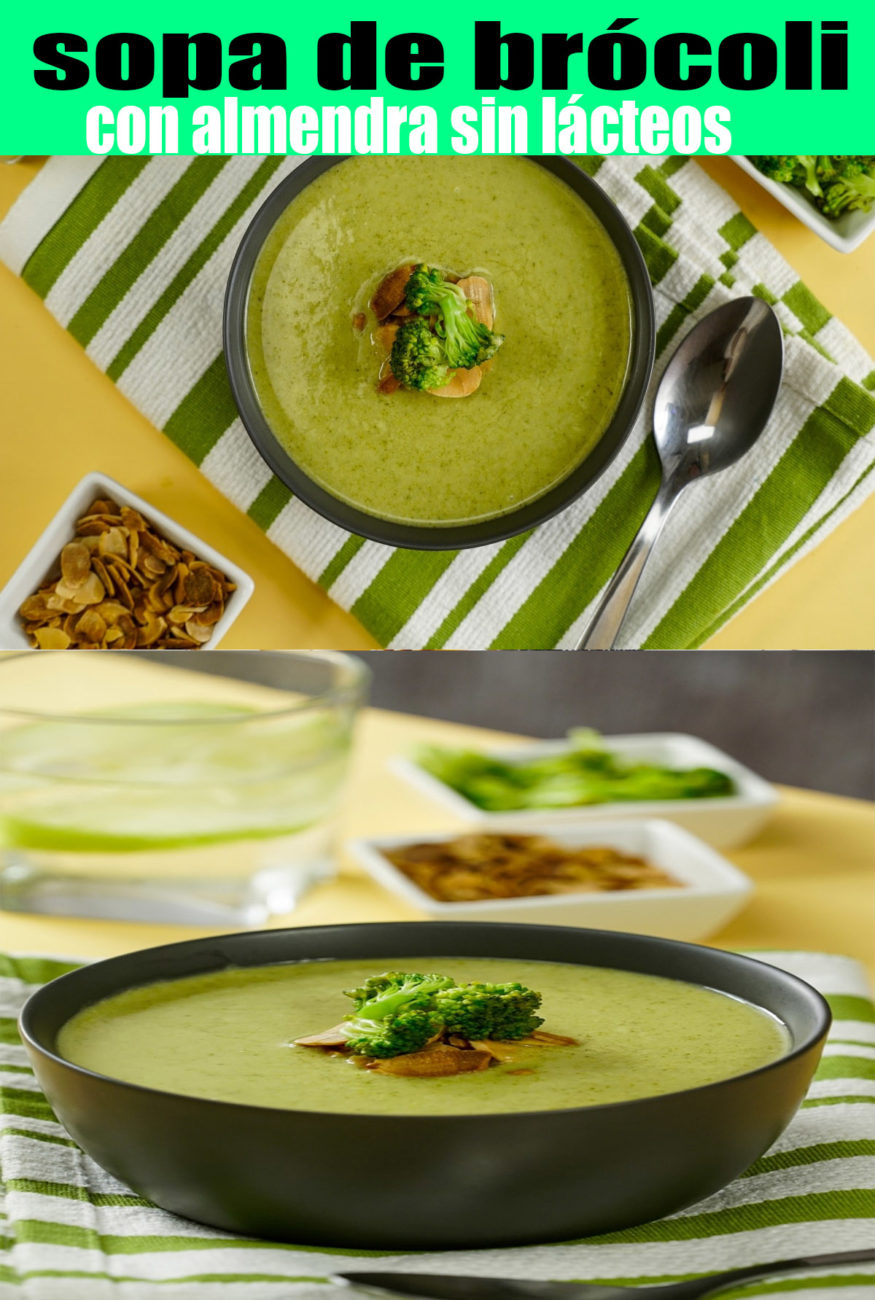 Preparar sopa de brócoli con almendra sin lácteos