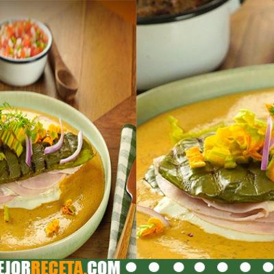 Sopa de nopal con flor de calabaza en salsa verde